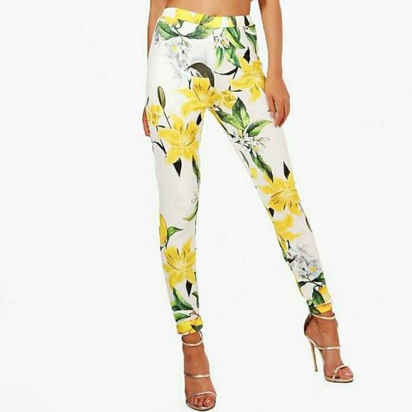 d385d7db9b20cb Boohoo Pants | Lemon Print Skinny Stretch Legging | Poshmark